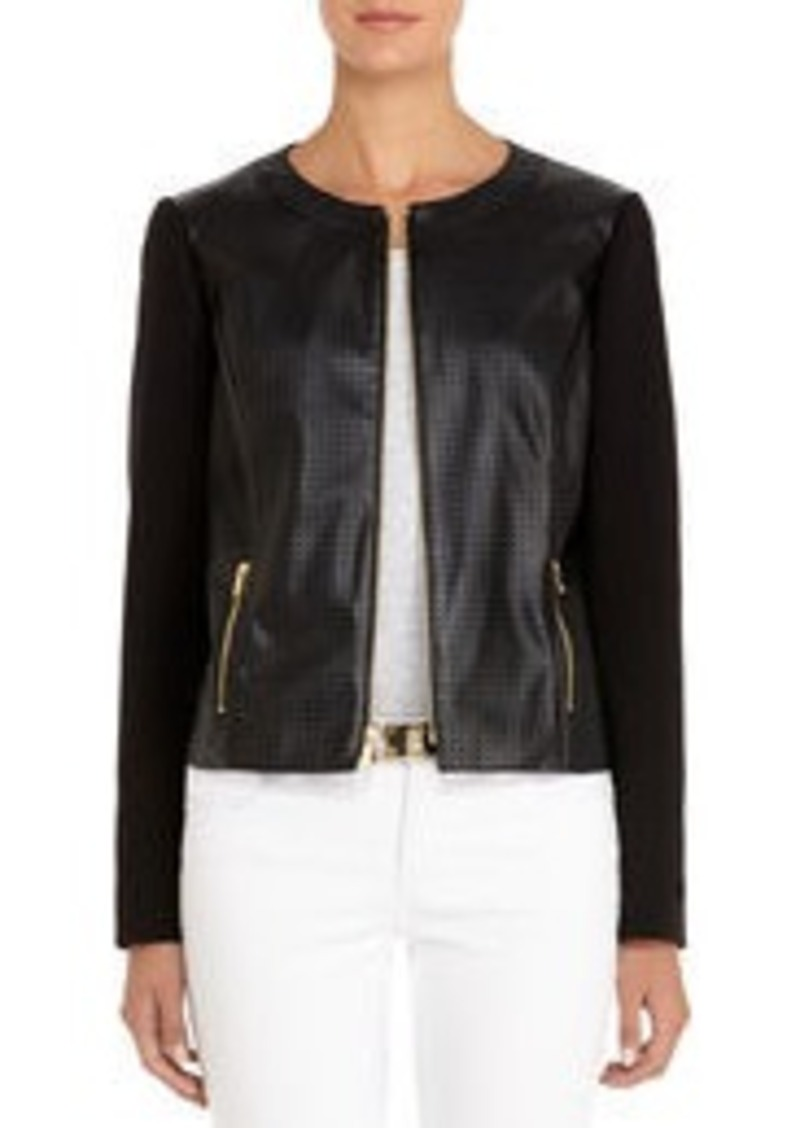 Jones New York Perforated Black Faux Leather Jacket (Petite)