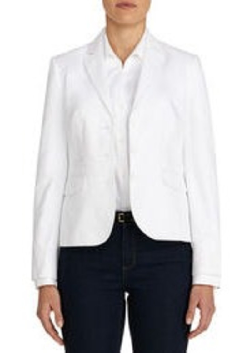 Jones New York Stretch Cotton Blazer with Grosgrain Trim