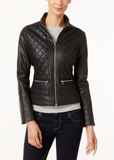 Kenneth Cole Faux-Leather Quilted Bomber Jacket