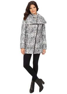 Kenneth Cole New York Asymmetrical Sweater Print Packable Faux Down Coat