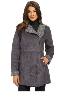 Kenneth Cole New York Aymmetrical Zip Front Faux Shearling