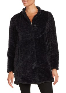 KENNETH COLE NEW YORK Faux Fur Button-Front Coat