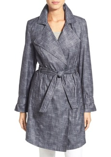 Kenneth Cole New York Faux Linen Long Trench Coat