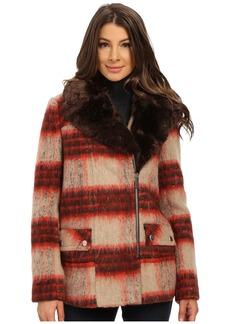 Kenneth Cole New York Plaid Wool Asymmetrical Zip Front Coat