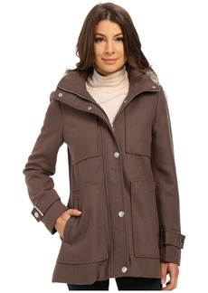 Kenneth Cole New York Wool Babydoll Coat with Faux Fur Trim Hood