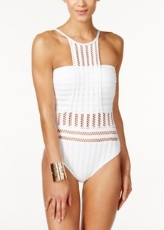 Kenneth Cole Tough Luxe Crochet High-Neck One-Piece Swimsuit Women's Swimsuit