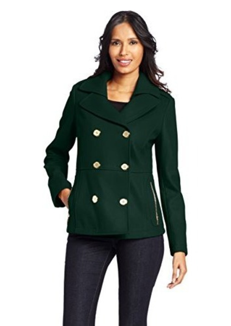 Kenneth Cole Women's Zipper Pocket Pea Coat