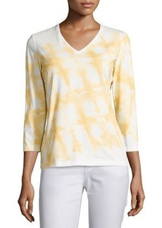 Lafayette 148 New York 3/4 Sleeve Patterned Top