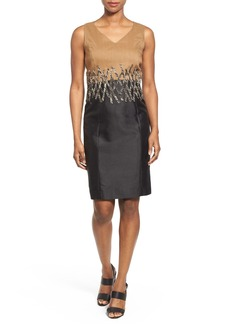 Lafayette 148 New York 'Alexa' Appliqué Waist Two-Tone Sleeveless Sheath Dress