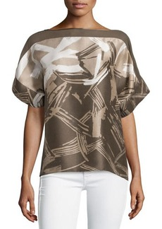Lafayette 148 New York Alonza Patterned Crepe Blouse