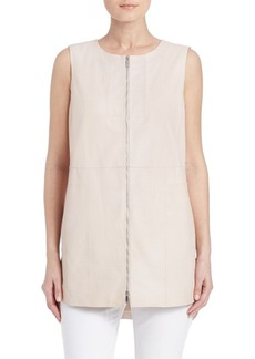 Lafayette 148 New York Athena Lambskin Leather Top