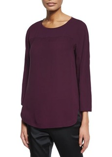 Lafayette 148 New York Azura Silk Boat-Neck Blouse