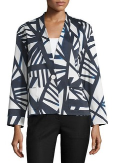 Lafayette 148 New York Baker Geometric-Print One-Button Topper