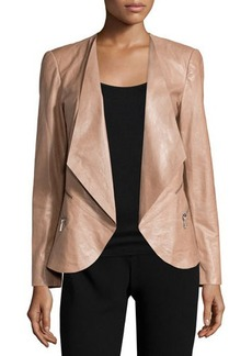 Lafayette 148 New York Becca Open-Front Leather Jacket