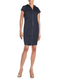 Lafayette 148 New York Camber Stretch Cotton Zip-Front Dress