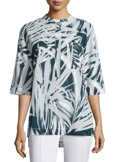 Lafayette 148 New York Cecilia Button-Front Printed Blouse