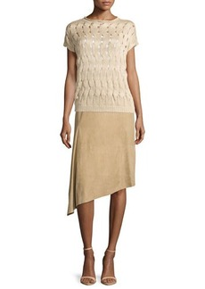Lafayette 148 New York Chantee Suede Asymmetric Skirt