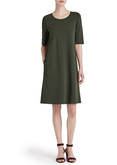 Lafayette 148 New York Charmeuse Trim Punto Milano Dress