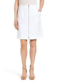 Lafayette 148 New York 'Cindy' Zip Front A-Line Skirt (Regular & Petite)