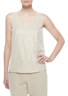Lafayette 148 New York Cleo Sleeveless Sequined-Front Blouse  Cleo Sleeveless Sequined-Front Blouse