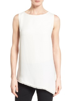 Lafayette 148 New York 'Conrad' Sleeveless Silk Asymmetrical Hem Blouse (Regular & Petite)