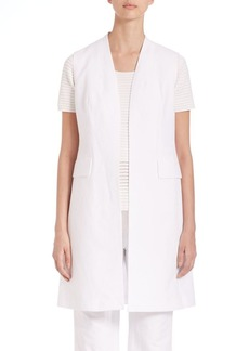 Lafayette 148 New York Courtly Cotton-Blend Long Leticia Vest