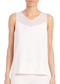Lafayette 148 New York Crepe Interlaced Ribbed Tank Top