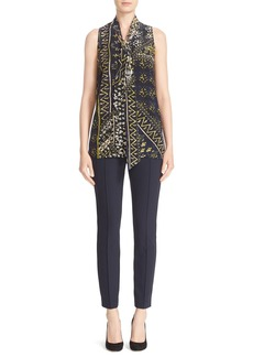 Lafayette 148 New York 'Dana' Print Tie Neck Silk Blouse