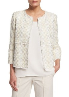 Lafayette 148 New York Dani Tempered Tweed Snap-Front Jacket
