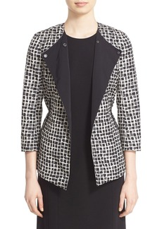 Lafayette 148 New York 'Dayle' Check Print Collarless Jacket (Regular & Petite)
