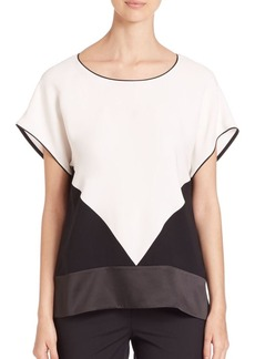 Lafayette 148 New York Devra Silk Colorblock Blouse