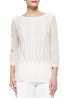 Lafayette 148 New York Double-Layer Cable Intarsia Sweater  Double-Layer Cable Intarsia Sweater