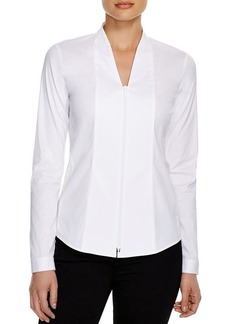 Lafayette 148 New York Elliot Zip Front Blouse