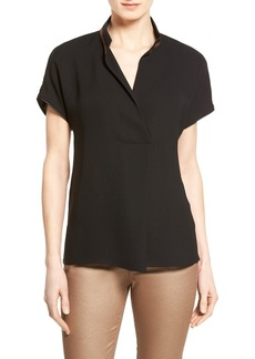 Lafayette 148 New York 'Eloise' Embellished Silk Stand Collar Blouse