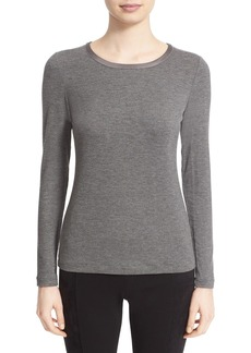 Lafayette 148 New York Embellished Neck Long Sleeve Tee