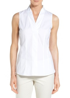 Lafayette 148 New York 'Evan' Sleeveless Poplin V-Neck Shirt