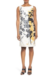Lafayette 148 New York 'Faith' Print Sleeveless Sheath Dress (Regular & Petite)