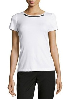 Lafayette 148 New York Faux-Leather Trim Tee