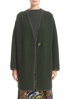 Lafayette 148 New York Faux Leather Trim Wool Blend Coat