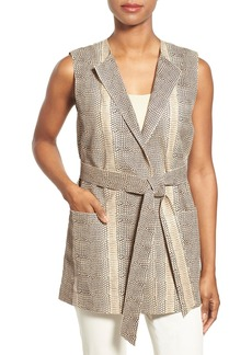 Lafayette 148 New York 'Faye' Embossed Lambskin Leather Belted Vest