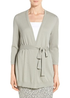 Lafayette 148 New York Georgette Back Belted Cardigan