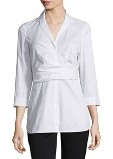 Lafayette 148 New York Ginger 3/4-Sleeve Wrap Blouse  Ginger 3/4-Sleeve Wrap Blouse