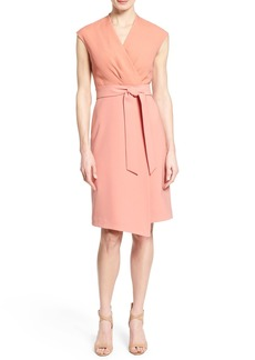 Lafayette 148 New York 'Grayson' Belted Mixed Media Sheath Dress (Regular & Petite)