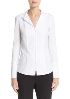 Lafayette 148 New York 'Iconic Collection - Aiden' Jersey & Stretch Cotton Blouse