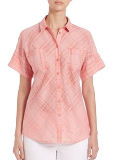Lafayette 148 New York Illusion Check Rosalia Blouse