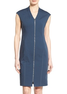 Lafayette 148 New York 'Imani' Zip Front V-Neck Sheath Dress (Regular & Petite)