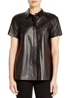 Lafayette 148 New York Ingrid Leather Blouse
