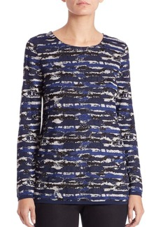Lafayette 148 New York Jacquard Pleated-Back Sweater