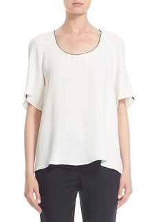 Lafayette 148 New York 'Kalia' Piped Slit Sleeve Silk Blouse