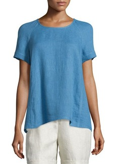 Lafayette 148 New York Kate Linen Short-Sleeve Blouse